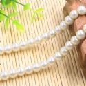Beads, Glass Imitation pearls, Glass, Cream colour , Round shape, Diameter 8mm, 18 Beads, [FZZ0032]